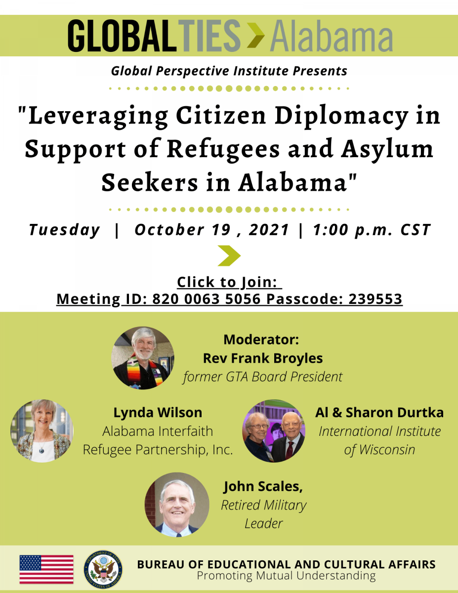 October 19, 2021 - Leveraging Citizen Diplomacy in Support of Refugees and Asylum Seekers in Alabama