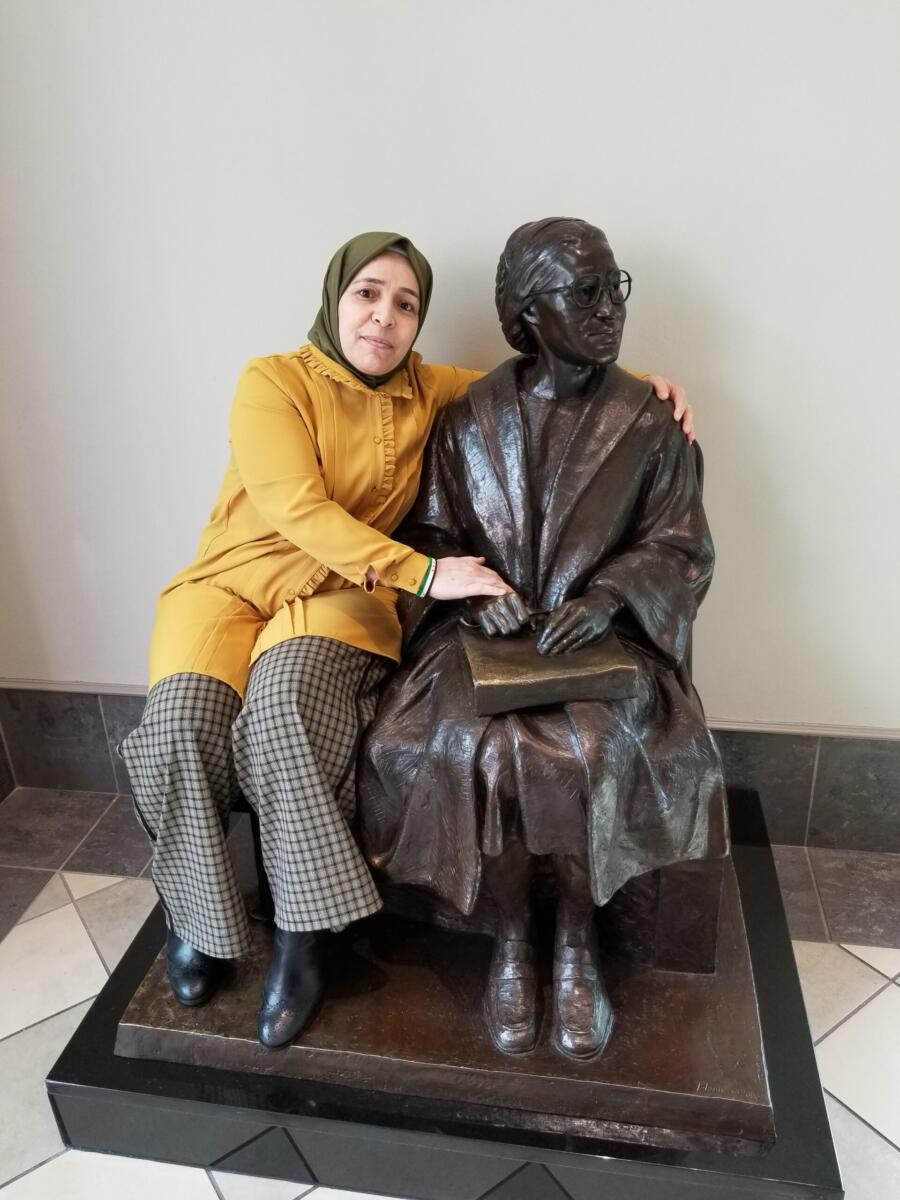 2020 IWOC visitor-- it's Amina Khoulani 2020 International Woman of Courage at Rosa Parks Museum in Montgomery, AL